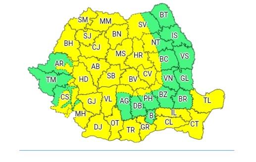 Cod galben în aproape toată țara