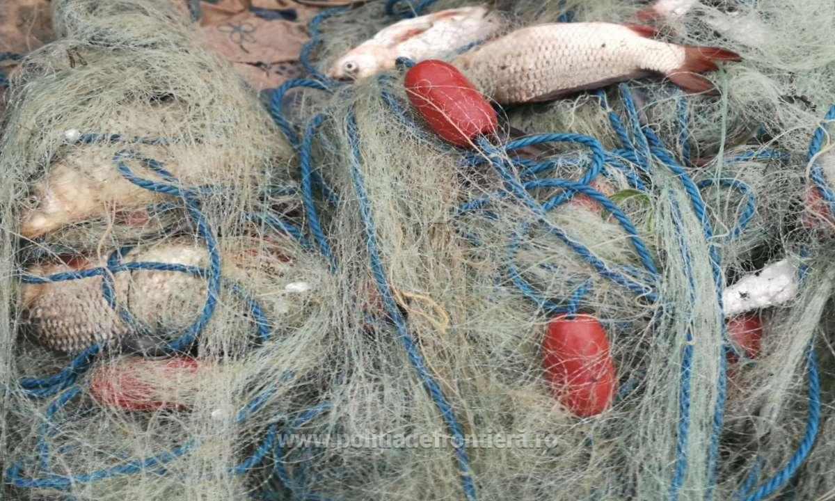 Braconaj piscicol cu plase interzise descoperit de polițiștii de frontieră tulceni