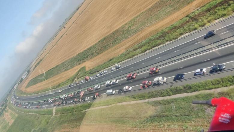 55 mașini și 155 persoane implicate în accidentele de pe A2!