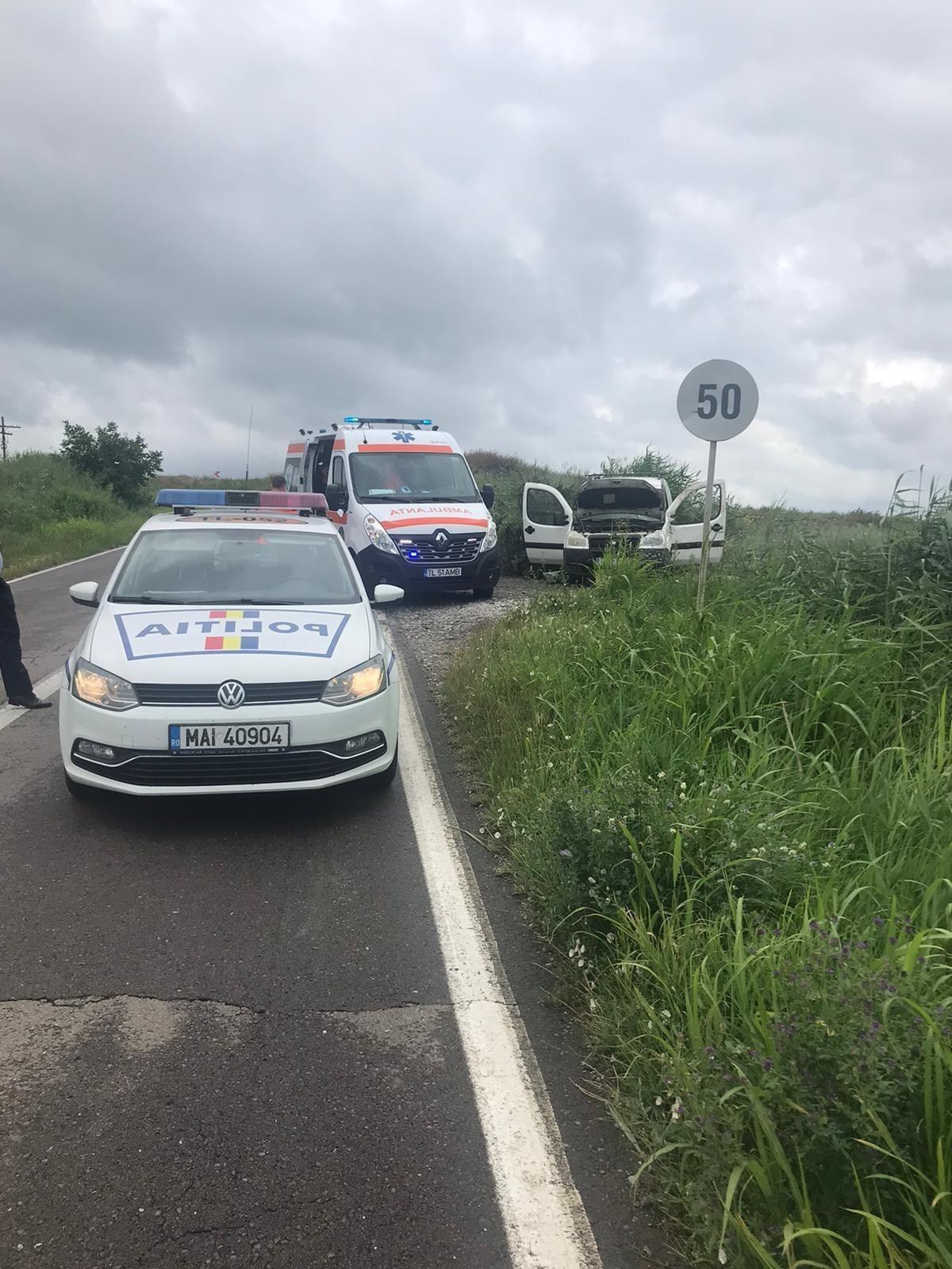 Mașină răsturnată la Nufăru, șofer rănit!