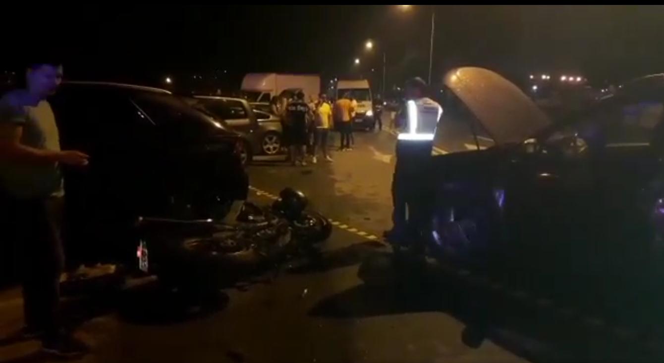 Motociclist spulberat în parcarea de la Ciuperca!