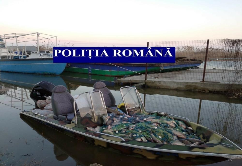 Percheziții în Delta Dunării la braconieri piscicoli! Sute de kilograme de icre și pește, confiscate de polițiști