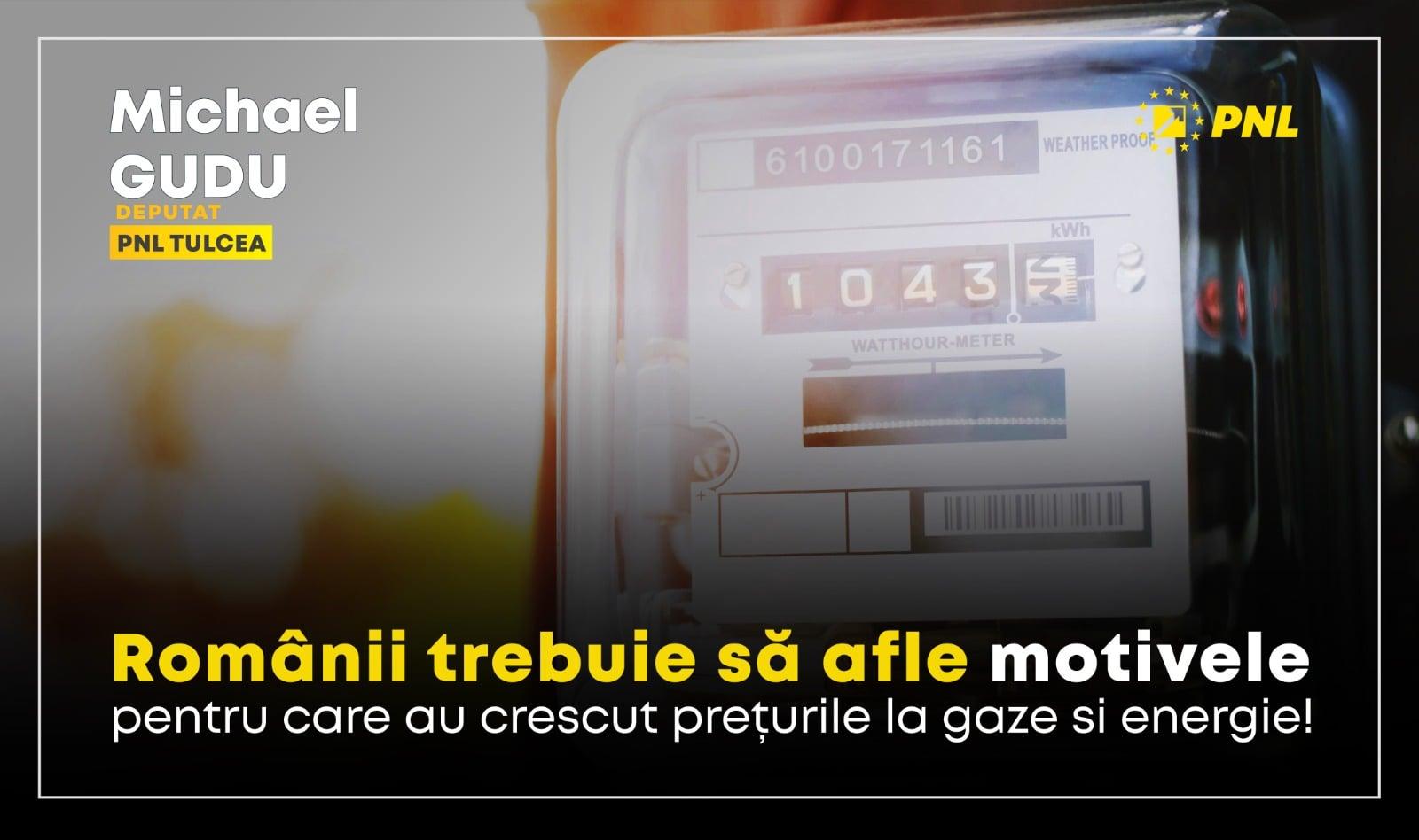 Gudu: Ministrul Energiei va fi audiat pentru a explica creșterea prețurilor la gaze și curent