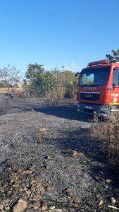 Case în pericol la Cerna în urma unui incendiu de vegetație uscată