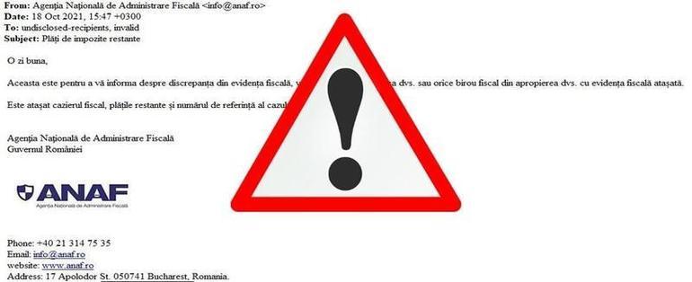 Val de e-mailuri false în numele ANAF! NU deschideţi!