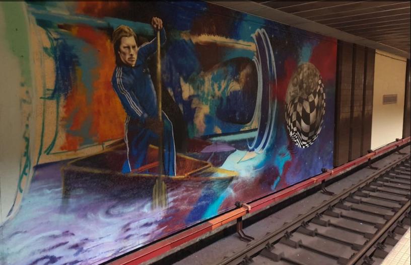 Graffiti uriaș cu Ivan Patzaichin, la stația de metrou de lângă stadionul Dinamo